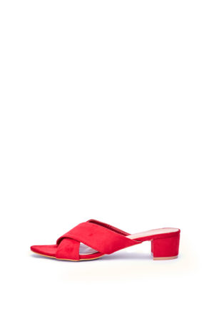WAGCHIC BLOCK HEEL CROSS MULES - RED