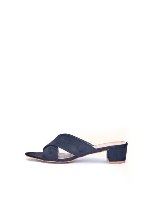 WAGCHIC BLOCK HEEL CROSS MULES - BLACK