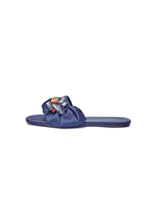 WAGCHIC SATIN RUFFLE SLIPPERS - NAVY