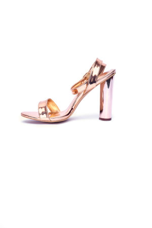 ROUND BLOCK HEEL SANDALS - ROSE GOLD