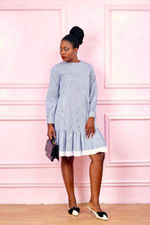 (3 FOR 15K)BLUE STRIPE LONGSLEEVE PEPLUM HEM TUNIC