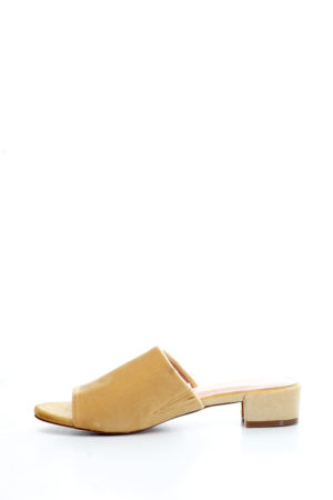 VELVET MINI HEEL MULES - LIGHT YELLOW