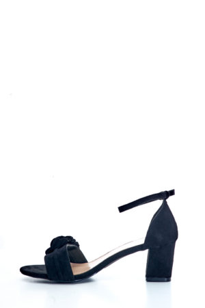 (2 FOR 15K) BLACK SUEDE PETALS DETAIL BLOCK HEEL SANDALS