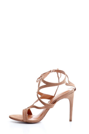 MULTISTRAP ANKLE TIE SANDALS - TAUPE