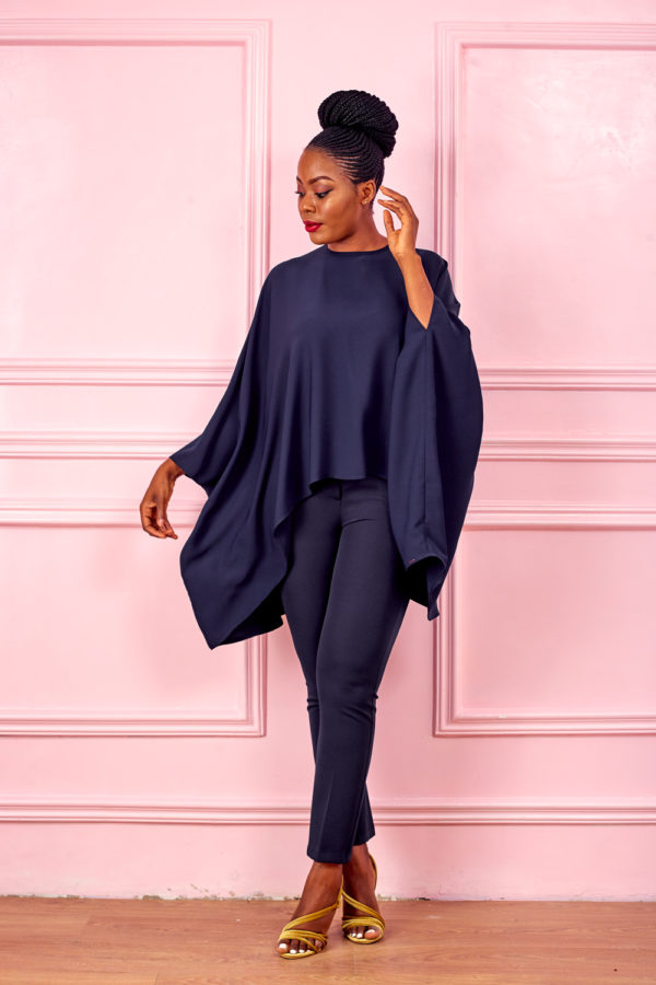PONCHO OVERSIZED TOP - NAVY