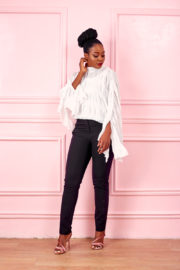 SCOOP PLEAT BATWING BLOUSE - WHITE