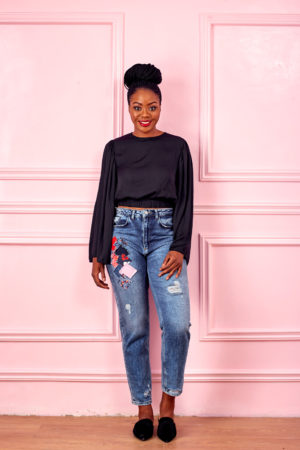 BLACK SILK FLARE SLEEVE CROP BLOUSE