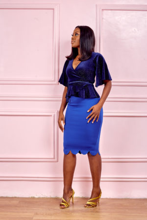 (3 FOR 15K) COBALT BLUE WAVY HEM PENCIL SKIRT