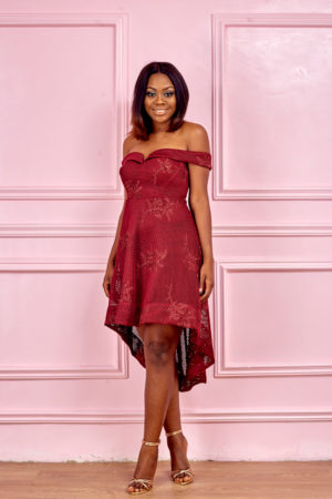 (3 FOR 20K) BURGUNDY BARDOT DEEP HEM DRESS