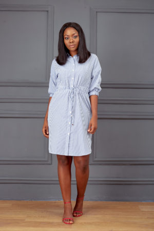 KOTON BLUE STRIPE ROPE INSERT SHIRT DRESS