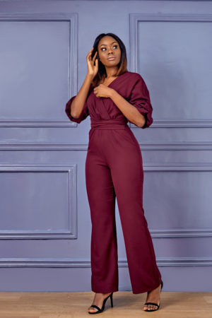 HANNAH BUBBLE SLEEVE JUMPSUIT - PURPLE