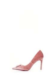 WAGCHIC SILVER BUCKLE COURT SHOE - DUSTY PINK