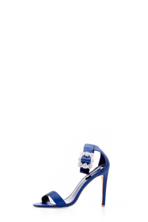 SUZZY EMBELLISHED BUCKLE STRAPPY SANDALS -NAVY