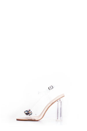NUDE ILLUSION EMBELLISHED CLEAR BLOCK HEEL