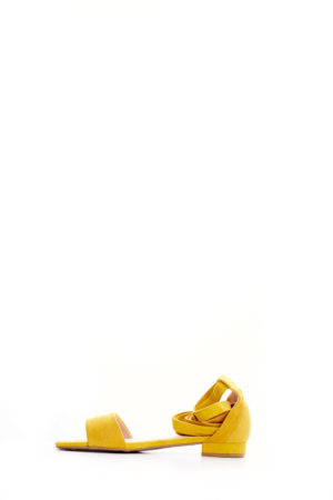 (2 FOR 15K) MUSTARD SUEDE WRAP AROUND FLAT SANDALS