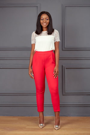 KOTON HIGHWAIST CROP PANT - RED