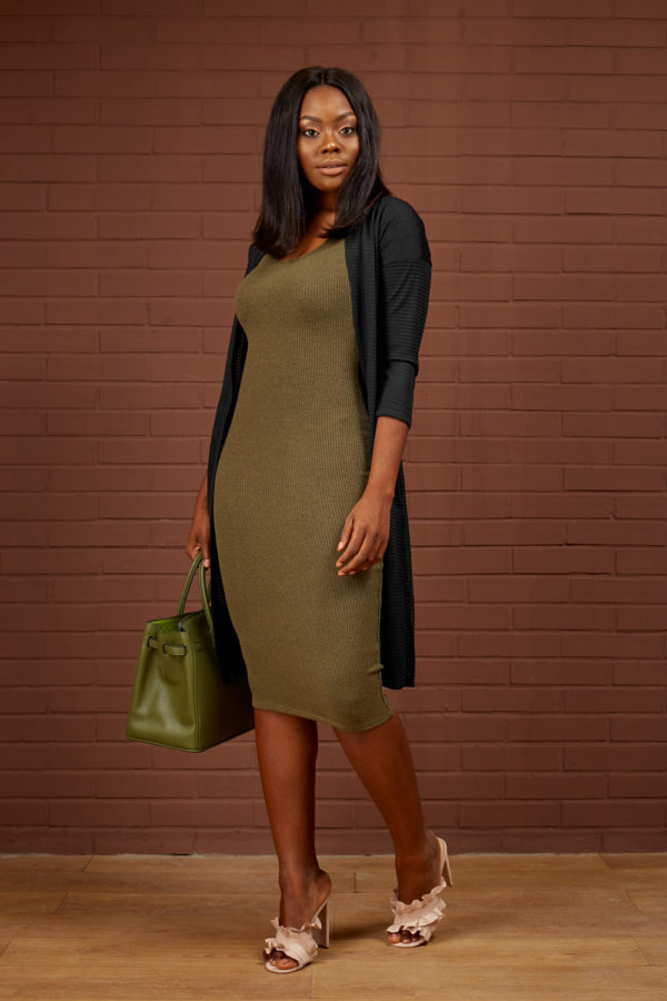 KHAKI SHORT SLEEVE MIDI BODYCON DRESS
