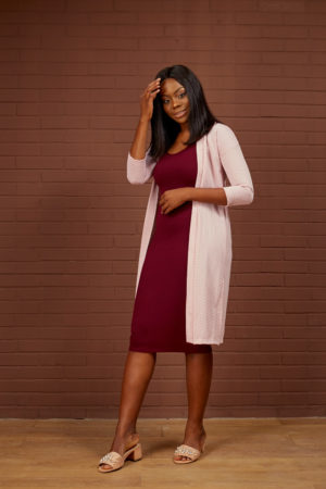 BURGUNDY RIB BONE MIDI BODYCON DRESS
