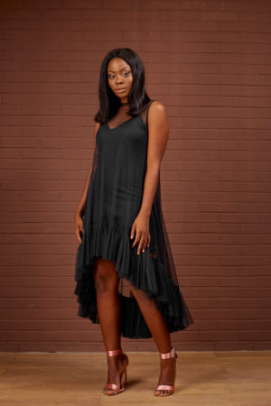 SHEER PEPLUM HEM SWING DRESS - BLACK