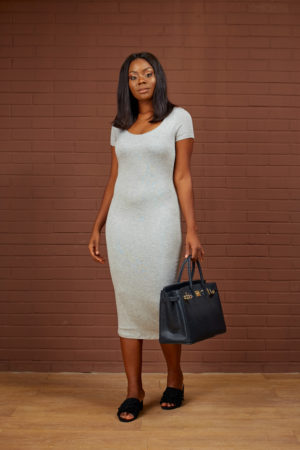 SHORT SLEEVE MIDI BODYCON DRESS - GREY