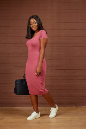 SHORT SLEEVE MIDI BODYCON DRESS - ONION PINK