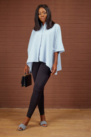 KOTON PALE BLUE OVERSIZED PEARL DETAIL TOP