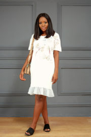 STONE & BOW DETAIL TEE SHIRT DRESS - IVORY