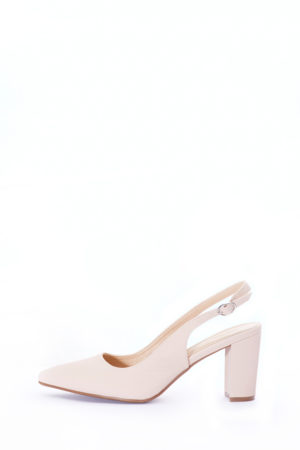 (2 FOR 15K) SLING BACK BLOCK HEEL SANDALS - NUDE