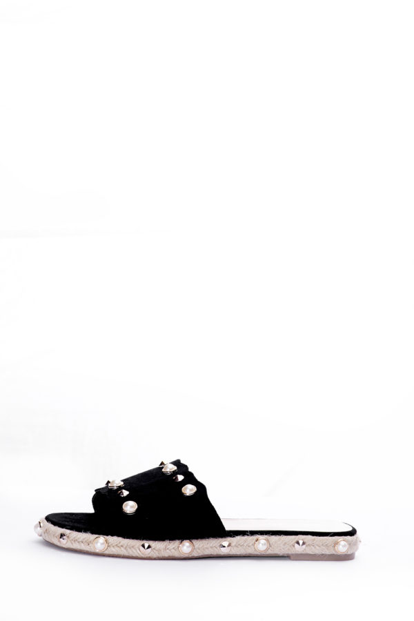 (2 FOR 15K)ONE BAND RAFIA SOLE SLIPPERS - BLACK