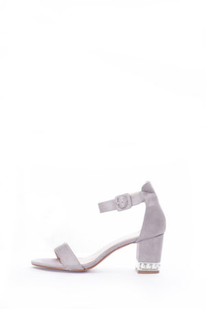 (2 FOR 15K)GREY SUEDE EMBELLISHED HEEL BLOCK HEEL