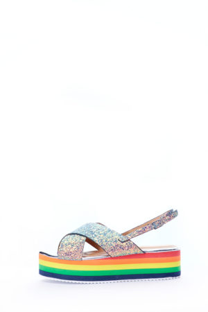 (2 FOR 15K)RAINBOW SOLE GLITTER CROSS SANDALS