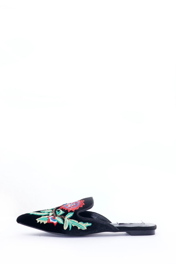(2 FOR 15K)BLACK FLORAL EMBROIDERED SLIP ON MULES