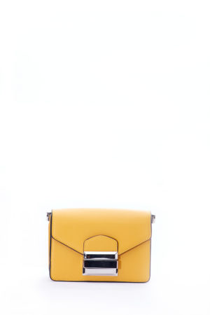 MUSTARD SILVER SLOT LOCK MINI BOX BAG