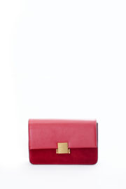 SUEDE INSERT GOLD BUCKLE MINI BAG - RED