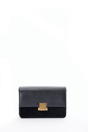 SUEDE INSERT GOLD BUCKLE MINI BAG - BLACK