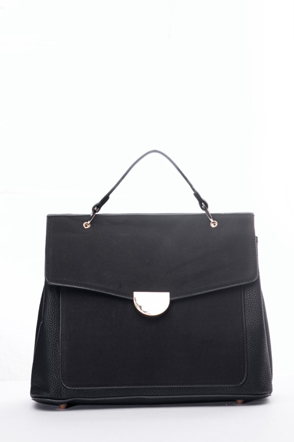 ONE HANDLE SUEDE FRONT TOTE - BLACK