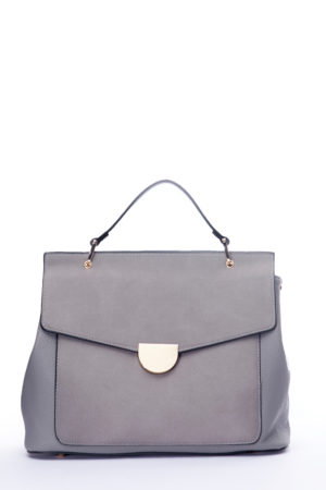 ONE HANDLE SUEDE FRONT TOTE - GREY