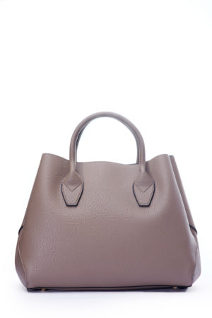 GRAB HANDLE SIDE STITCH DETAIL TOTE - TAUPE
