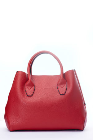 GRAB HANDLE SIDE STITCH DETAIL TOTE - RED