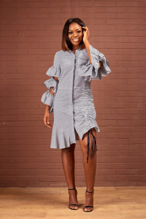STRIPE LAYER SLEEVE DRAG SIDE SHIRT DRESS - BLACK