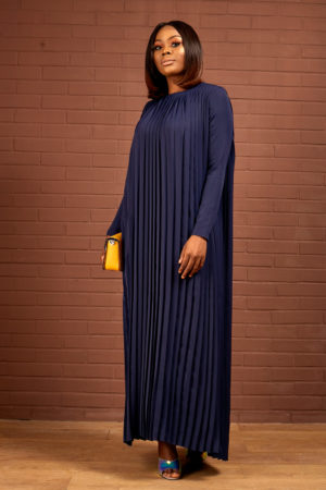 PLEATED MAXI DRESS - NAVY