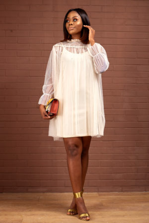 SHEER SWING DRESS WITH 3D LACE - BEIGE