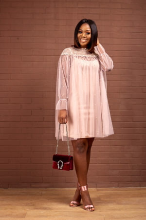 SHEER SWING DRESS WITH 3D LACE - MAUVE