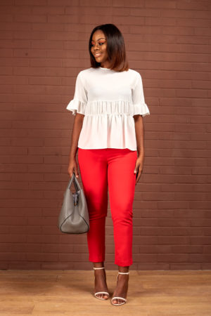 KOTON CREPE FRILL TOP - IVORY