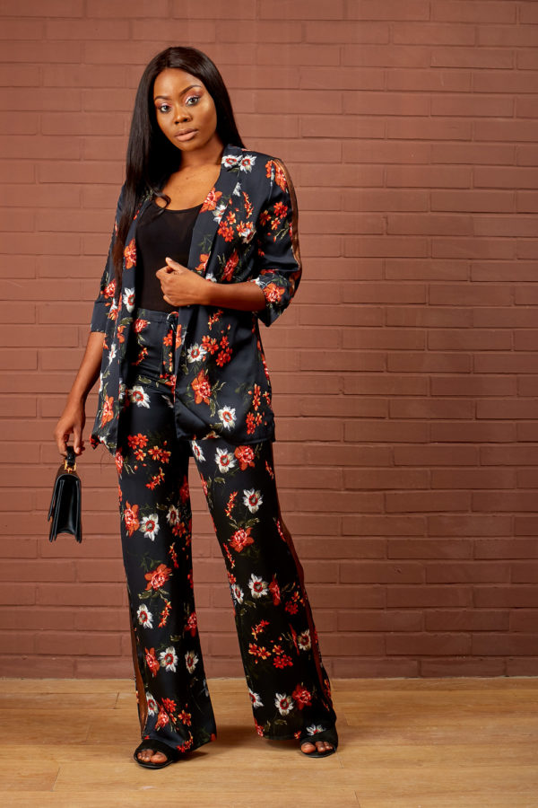 BLACK & ORANGE PRINT SUIT SET