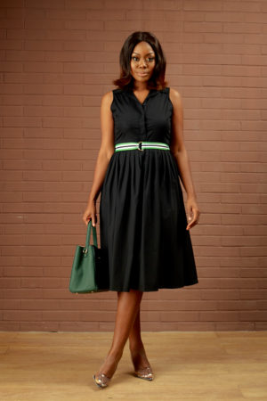 KOTON BLACK SLEEVELESS SKATER DRESS WITH GREEN BELT