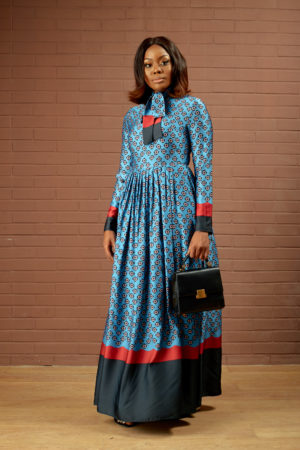 BLUE SATIN FLORAL PRINT MAXI DRESS