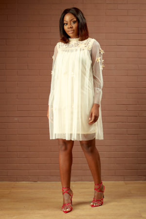 SHEER SWING DRESS WITH GUIPURE DETAIL - BEIGE