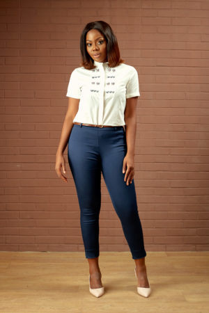 KOTON NAVY HIGHWAIST PEG PANTS