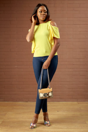 KOTON YELLOW CREPE COLD SHOULDER TOP